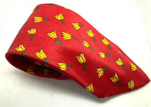 """FLORAL FLOWER Canda Men's Tie Red Polyester 3.75"""" Width 60"""" Long"""