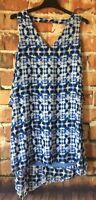 Dana Buchman Dress Womens Size 14 Sleeveless Layered Lined Blue Print New (X10)