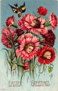 Easter Greetings Flower Faces Carnations Vintage Postcard AA29979
