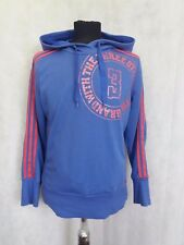 Z803 MENS ADIDAS BLUE PINK STRIPED HOODED TRACKSUIT TOP UK M 12-14