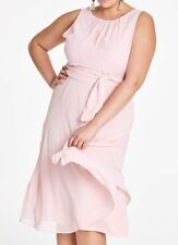 JOANNA HOPE Chiffon Dress with Tie Waist in Blush Pink PLUS Size UK 26 (WB13)