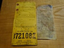 1975 New York Citizen  Resident Big Game Hunting License Back Tag RB 721082