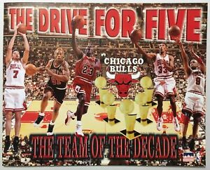 Bulls Poster The Drive for Five Jordan Rodman 1997 Vintage NOS Starline 16x20