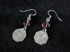 Pewter I-Ching Charm Earrings