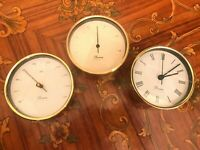 Vintage Danish Devina Quartz Ship Brass Clock Barometer n Thermometer.