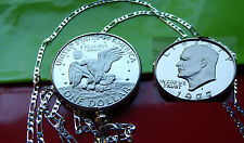 """USA PROOF IKE DOLLAR Coin Bezel Pendant on a 30"""" .925 Sterling Silver Chain"""