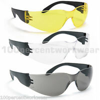 1x Pair of Blackrock Safety Specs Spectacles Sun Glasses Clear Smoke Yellow PPE