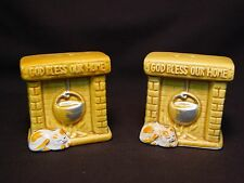 Vtg Salt Pepper Shaker Set God Bless Our Home Fire Place Cat Kitten Enesco Japan