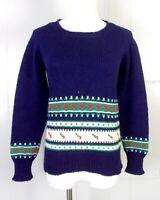 vtg 60s 70s Marceau Sports Minnetonka MN 100% Wool Sweater Geometric sz S