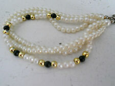 Faux pearl 3 strand twisted bracelet AS NEW ladies girls 20cm w gold black beads
