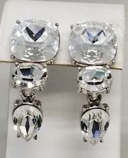 Monet Fantastic Huge Faceted Rhinestone Clip On Vintage Earrings for BRIDE