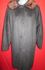 ~Classic Vintage 60's Black Wool Mink Collar Stroller Coat Large XL~Satin Lined
