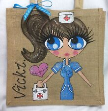 Personalised Handpainted Jute Celebrity Hen Party Nurse Handbag Hand Bag With