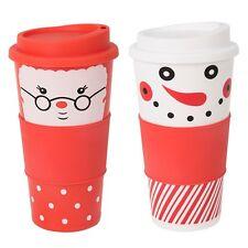 Confezione di 2 Natale da Viaggio Tazza Caffè Tazza Termica Isolata PALLONE coperchio rimovibile