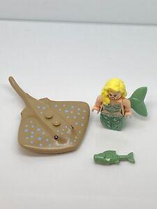 Lego  Pirates of the Caribbean Mermaid Minifigure With Fish & Manta Ray