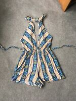 Halter Neck Playsuit Boho Festival Hippie Blue Beige Tassle Backless Size 8 10