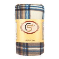Tartan Checked Large Polar Fleece Warm Soft Blanket Sofa Bed Throws - Natural