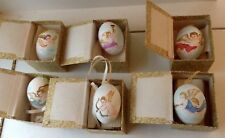 VINTAGE HAND PAINTED EGG ANGEL CHRISTMAS ORNAMENT SET OF 6 MIB