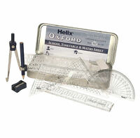 Helix Oxford Maths Set Tin Geometry Ruler Squares Protractor Compass Stencil
