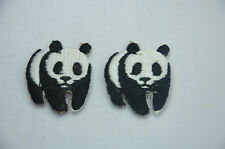 2pcs PANDA BEAR PANDAS 3cm  Embroidered Sew Iron On Cloth Patch Badge APPLIQUE