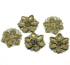 New 10 Bronze Tone Filigree Flower Wraps Connnector Embellishments 4.5x4.2cm