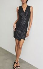 NWT BCBG MAX AZRIA Embroidered Faux Leather Mini Dress Sz XS Black