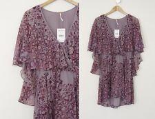 Gorgeous Free People Mauve Purple Cape Flutter Sleeves Bohemian Boho Dress S