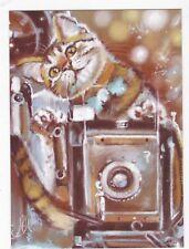Birdie Cat with photo camera by Annet Loginova Russian modern postcard