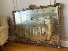 1860  French Gilt and Gesso Wood Framed Mirror with heavy signs of age and wear.