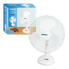 Benross 12 Inch Desk Fan 40W White 3 Speed Control Wide Base