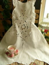 White Ruffled Victorian Hand Embroidered Tea Party Full Apron Wedding Linen