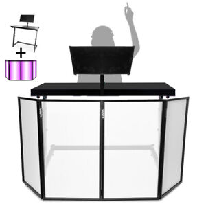 DJ Mixing Console Table Stand w/ Vonyx Foldable Lighting Screen 4 Panel Facade