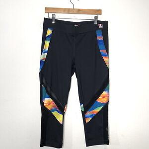 Fila Sport Running Womens Size Large Black Rainbow Stripe Capri Leggings
