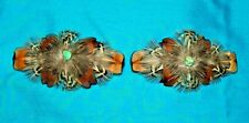 Set 2 Med Feathered Barrettes Pheasant Feathers & Turquoise FREE SHIPPING MBS11