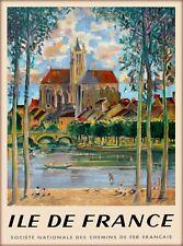 Île-de-France France French Vintage Travel Advertisement Art Poster Print