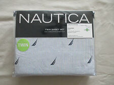 NEW Nautica 3pc Twin Sheet Set SPINNAKER Blue & White Pinstripes Navy Blue Boats