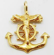Nice 14K Yellow Gold Detailed Religious Sailors Cross Necklace Pendant B3475