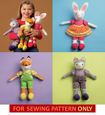 SEWING PATTERN! MAKE KIDS STUFFED ANIMAL TOYS! CAT~FOX~BUNNY! SOFT~CLOTH~PLUSH