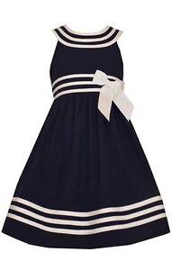 Bonnie Jean Big Girls Easter Cream Navy Nautical Sailor Uniforms Dress 7- 20 1/2