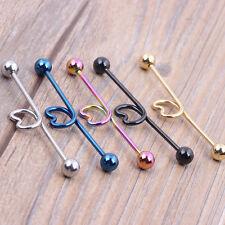 14g Surgical Steel Blue Love Heart Industrial Bar Scaffold Ear Piercing Ring