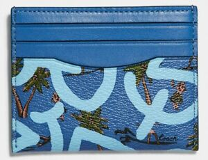 COACH x Keith Haring 'Hula Dance' Men's Coated Canvas Slim ID Card Case Blue NWT