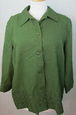 ALFRED DUNNER 16W XL WOMENS BUTTON DOWN ELEGANT SEQUINED GREEN SHIRT TOP BLOUSE