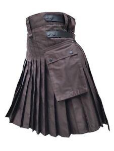 Men's Brown Genuine Leather Straps Fashion Sport Cotton Utility Kilt, Adjustable