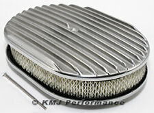 "12"" x 2"" Oval Full Finned Polished Aluminum Air Cleaner Assembly 12x2 Retro"
