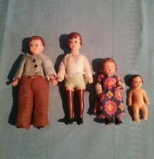 Vintage German Rubber Ari Dolls Mom, Dad Girl & Baby Miniature Doll House Dolls