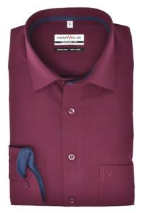 Marvelis Herren Businesshemd Comfort Fit Kent Kragen Langarm Einfarbig Bordeaux