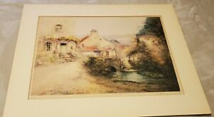 FRENCH  ARTIST SIMONE HAUMONT LITHOGRAPH LANDSCAPE WATERCOLOR SIGNED IN PENCIL