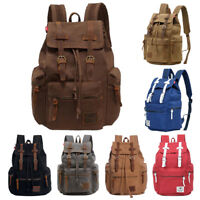 Men's Vintage Canvas Backpack Travel Rucksack Camping Satchel School Bag Bookbag