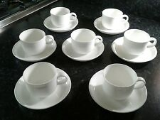 John Lewis White Porcelain Expresso Coffee Cups and Saucers x 7