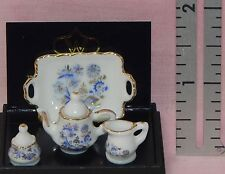 Dollhouse Miniature Coffee Pot Cream Sugar Blue Onion Reutter Porcelain Minis